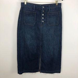 Gap 90s Long Denim Button Skirt Frayed Hem 32W 32L